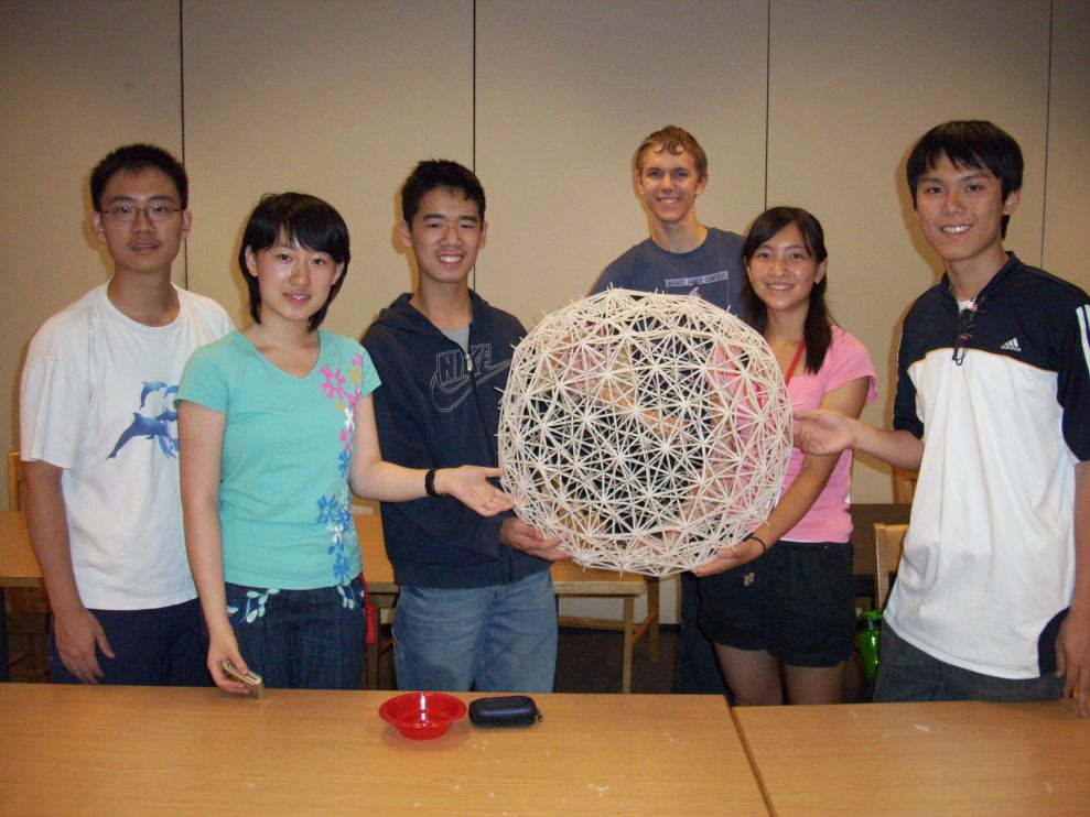 George W. Hart led building of a Two-Layer Geodesic Sphere at Mathcamp 2008